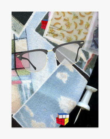 Asha Schechter Picture 066b (Rubiks Cube, Clear Book, Clubmasters, Rubiks Cube, Vintage Pictures Retro Photos Cotton Fabric, Thumb Tack)