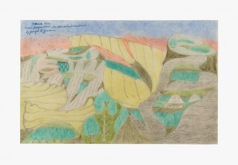 "Drawing by Joseph Yoakum titled ""Mana Kea near Papaikow on Hawaiian Island USA"" no date"
