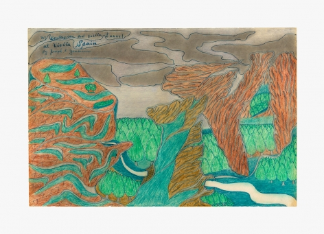 """Drawing by Joseph Yoakum titled """"Mt. Cantafrian and Viella Tunnel"""" from 1965"""