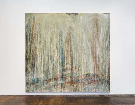 Pat Steir Red, Blue and Silver Waterfall