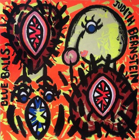 Judith Bernstein Small Blue Balls (Yellow Ground) 2