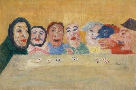 James Ensor Masques regardant un jeu des cartes (Masks Looking at Playing Cards)