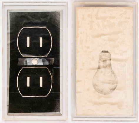 ALEX HAY, Stencil for Outlet for Toaster and Drawing of Light Bulb