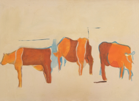 Lois Dodd, Cows – Red and Orange on Pink Ground