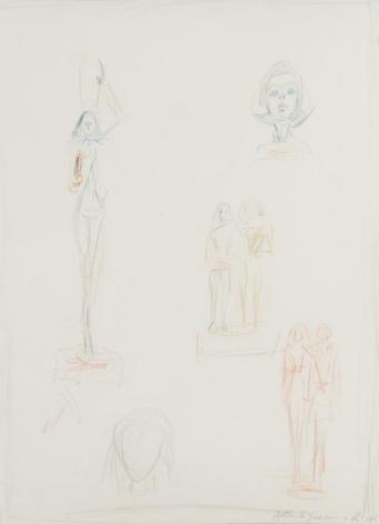 Alberto Giacometti Une page d'esquisse pour les sculptures