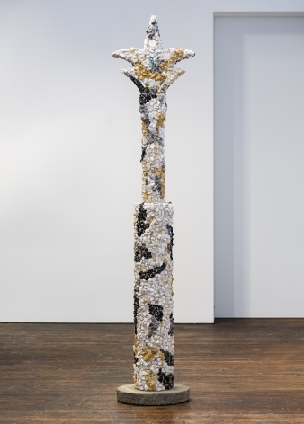 Ned Smyth White Mosaic Column on Pedestal