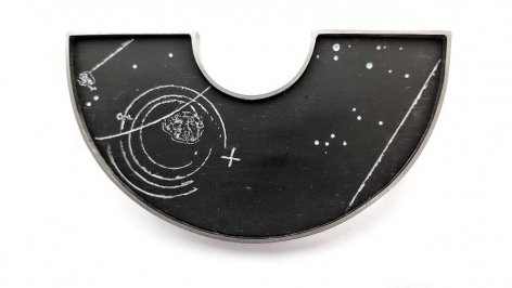Ann Parkin, Brooch - Particle Shower, Etched Black