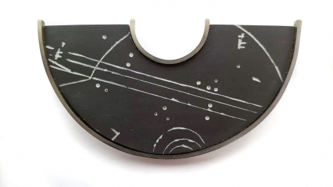 Ann Parkin, Brooch - Particle Shower, Etched Gray