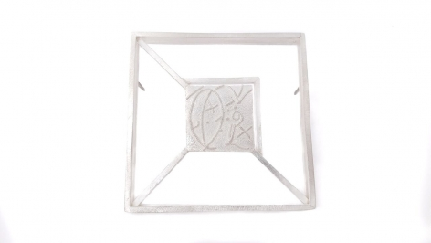 Ann Parkin, Brooch - Particle Tracks, Open Suspended Square