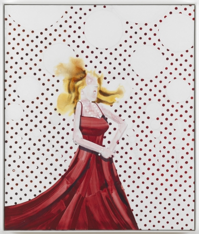 a figural painting of a woman wearing a red dress on a polka dot background by barnaby furnas