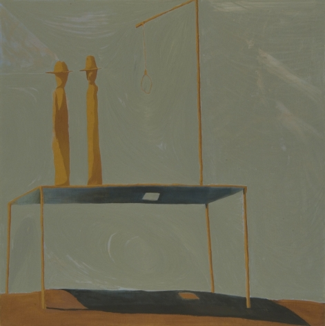 painting of a table with small sculptures by jesse chapman