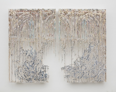 a drip wall panel by Diana Al-Hadid available to buy in a NYC art gallery