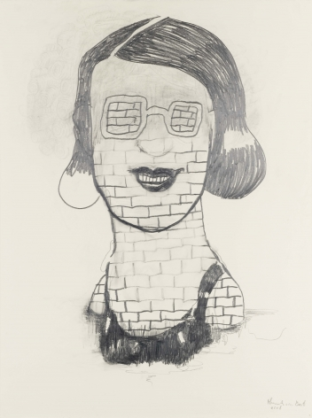portrait of a woman made of bricks by hannah van bart