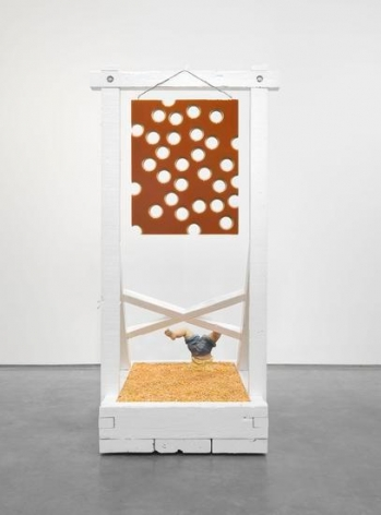 Lot 050816 (honey shot and corn), 2016, Pigmented epoxy resin on linen and wood panel support, acrylic painted wood contraption, with hardware and corn
