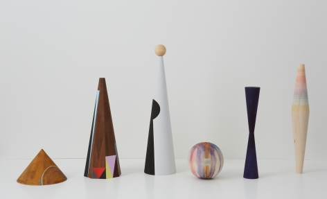 Untitled (six sculptures), 2012, Crayon, gold leaf, acrylic on wood