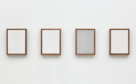 Untitled (Four Part Etched Plaster), 2015, Pigmented hydrocal in four walnut frames