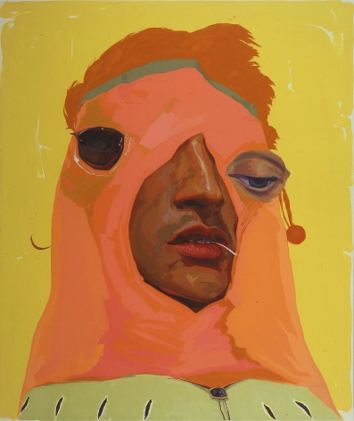 portrait of a man with an orange hood