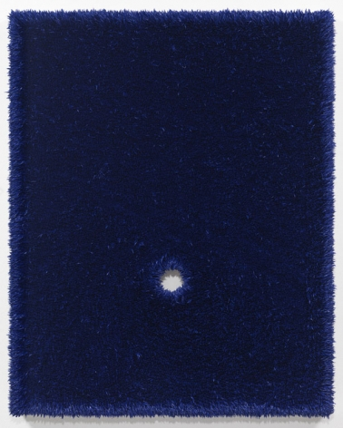 a glory hole painting by contemporary artist donald moffett in dark blue color
