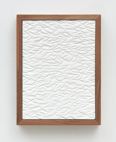 Untitled (Four Part Etched Plaster), 2015 [detail 2 of 4], Pigmented hydrocal in four walnut frames