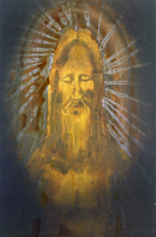 portrait of dead christ in yellow with blue and red halo by barnaby furnas
