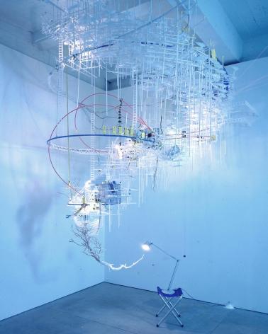 curving mixed media sculpture by sarah sze