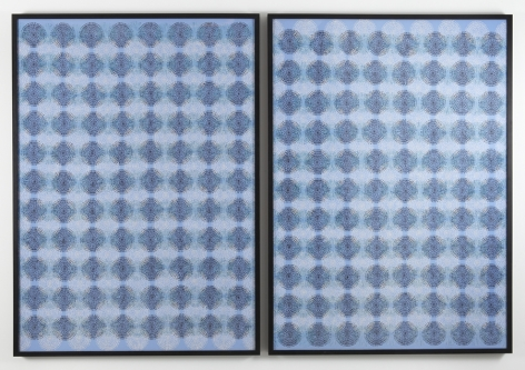 diptych with blue patterns by bharti kher mimic