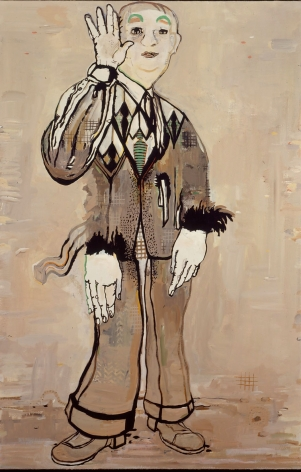 portrait of a man with three hands by hannah van bart