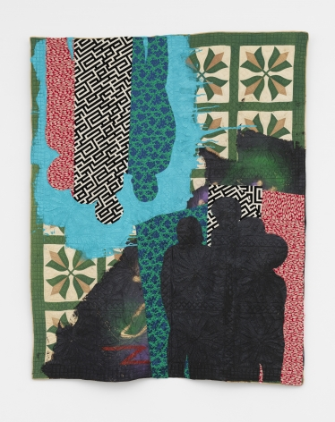a textile work of art by Sanford Biggers in a New York art gallery
