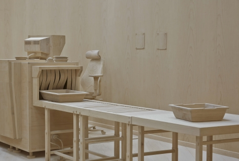 wood security belt model by roxy paine