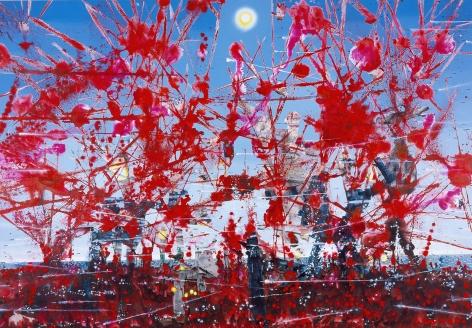 Untitled (Battlescene), 2004, Mixed media on linen