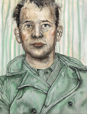 portrait of a man in green by hannah van bart