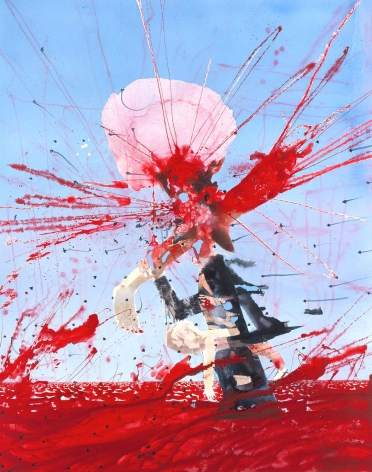 painting with red splash and blue background by barnaby furnas