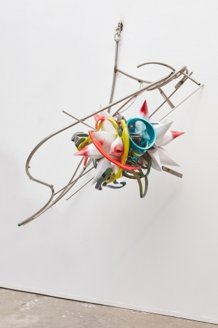 a metal and plastic 3-d printed star sculpture by frank stella