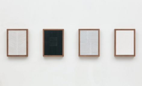 Untitled (Four Part Etched Plaster), 2015, Pigmented hydrocal and medium coated pigmented hydrocal in four walnut frames