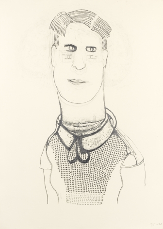 portrait of a man with a bow around his neck by hannah van bart