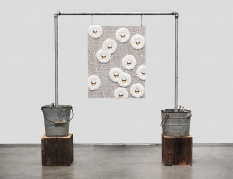 Lot 041410.12 (random F), 2012, oil on linen with wood panel support, timber, galvanized pipe, galvanized bucket, rebar, concrete, hardware