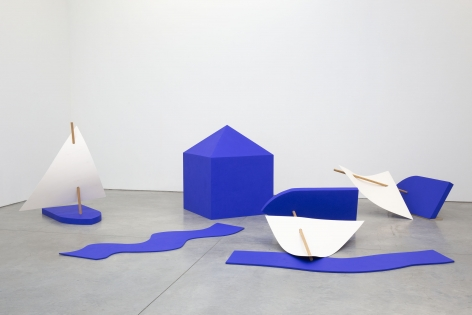 Sculpture of sail boats and a house by Jennifer Bartlett