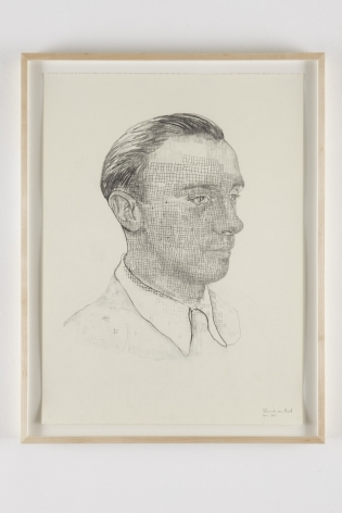 a drawing in graphite on paper of a man's head by contemporary artist Hannah van Bart