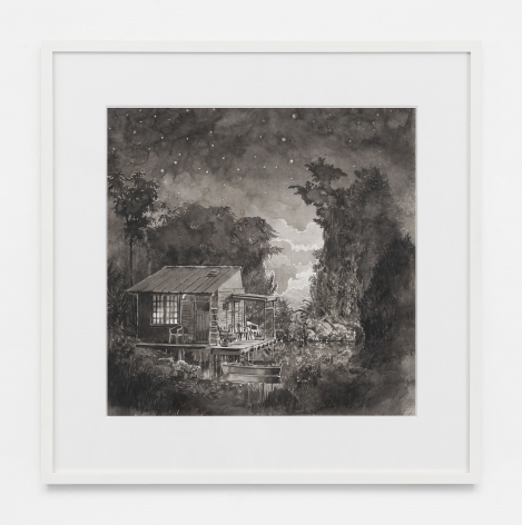 The Lake Dwelling, 2019, Black and white watercolor on Arches paper in wooden frame