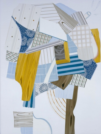 abstract painting with logs and blue and beige shapes by kevin appel