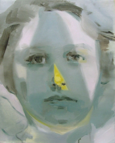 portrait of a woman in blue with yellow on her nose by kaye donache