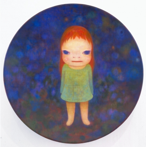 blue roundel with standing girl by yoshimoto nara