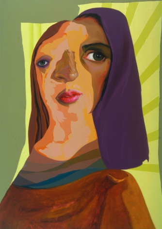 portrait of a woman with purple and brown hair