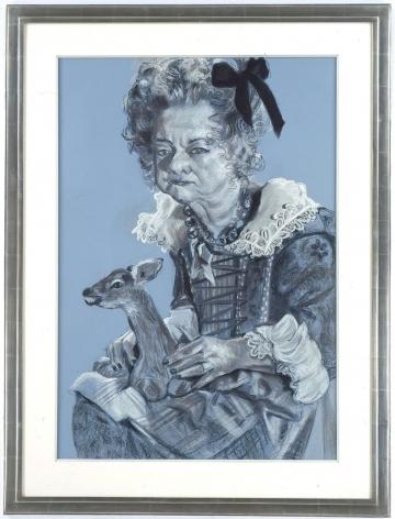 blue portrait of an elderly woman by rachel feinstein