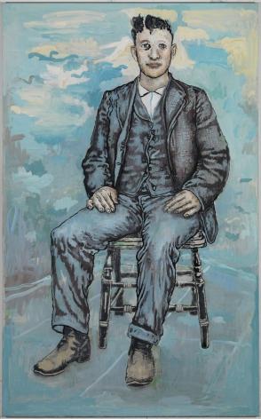 blue portrait of a man by hannah van bart