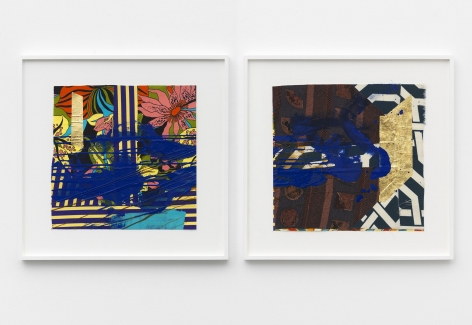 two colorful works of art by Sanford Biggers on display at a NYC art gallery