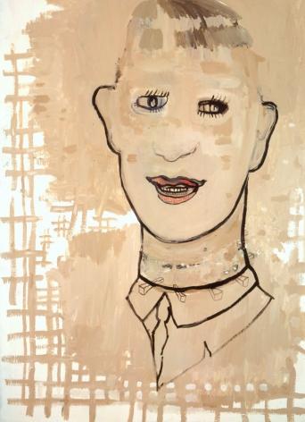 portrait of a man smiling in beige by hannah van bart