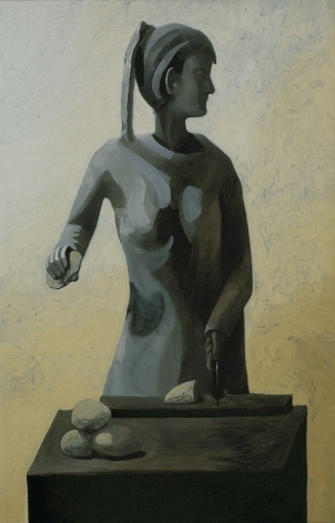 painting of a woman slicing bread by jesse chapman