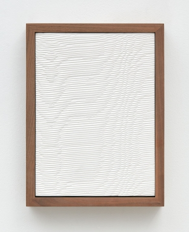 Untitled (Four Part Etched Plaster), 2015 [detail 4 of 4], Pigmented hydrocal in four walnut frames
