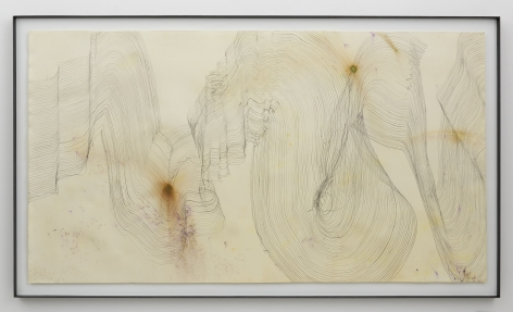 Music for Minor Planets (Summerfield), 2013, Graphite and pigment on dyed and bleached paper